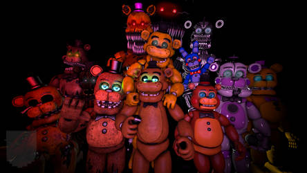 All Freddy Versions Poster sfm by Purpleman88