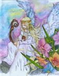 Euterpe, Muse of Music (colored) by littlemissmarikit