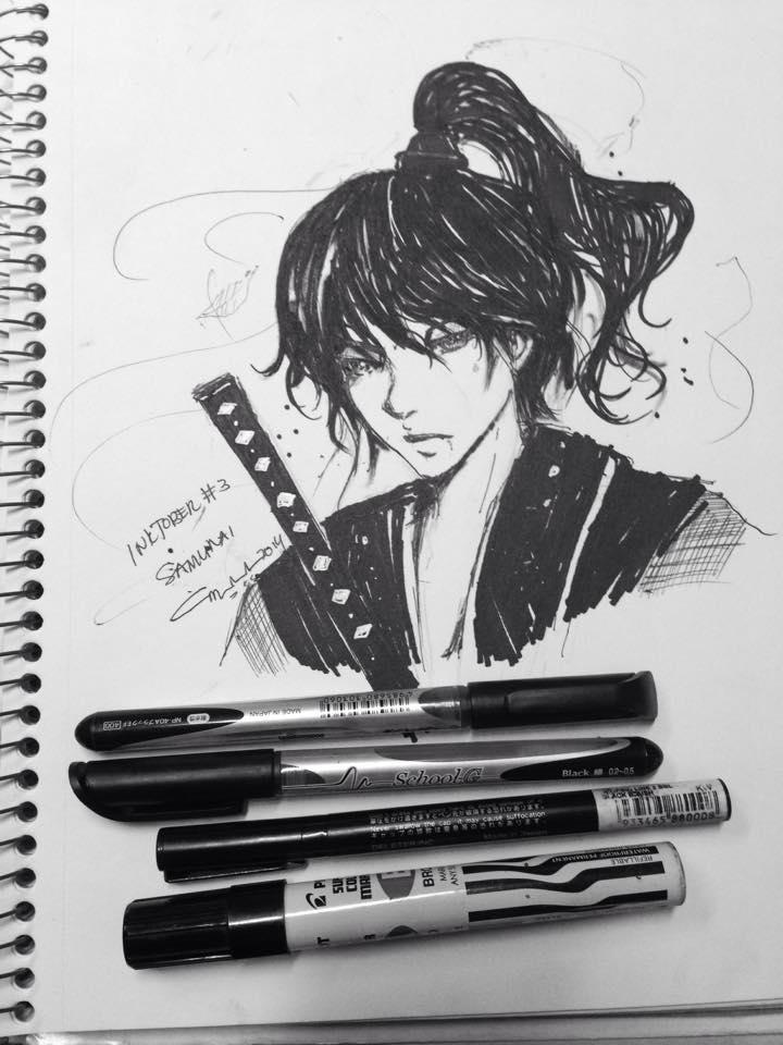 Inktober #3: Random Ink Samurai for Inktober by marikit
