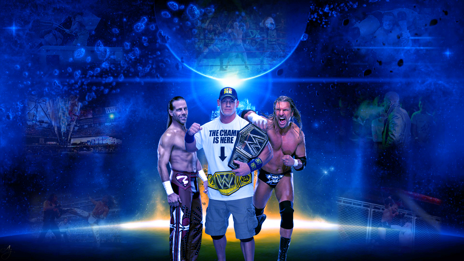 Shawn Michaels Triple H And John Cena Wallpaper by FunkyAli on