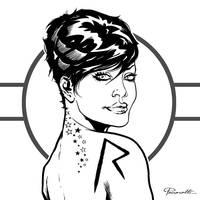 Rihanna illustration inks by le0arts