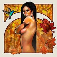 Pocahontas illustration. Autumn. by le0arts
