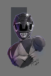 mighty morphin power rangers black color by le0arts