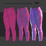 Fabric color light study Women shiny plastic pant