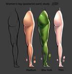 Women s leg posterior part color light study 2