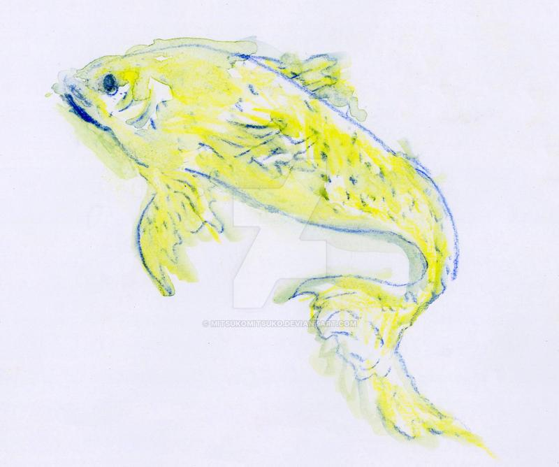 Electric lemon fish watercolor pencils by mitsukomitsuko for 104 7 the fish