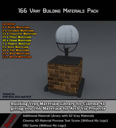 166 Vray Building Materials Pack for Cinema 4D by bestm8