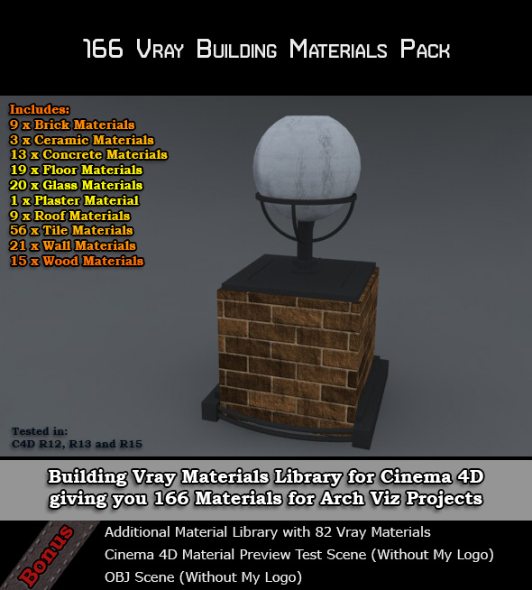 166 Vray Building Materials Pack for Cinema 4D by bestm8 on