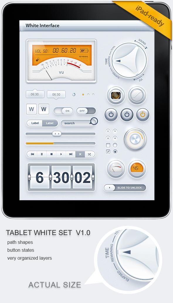 Tablet Phone UI White SET by diegomonzon