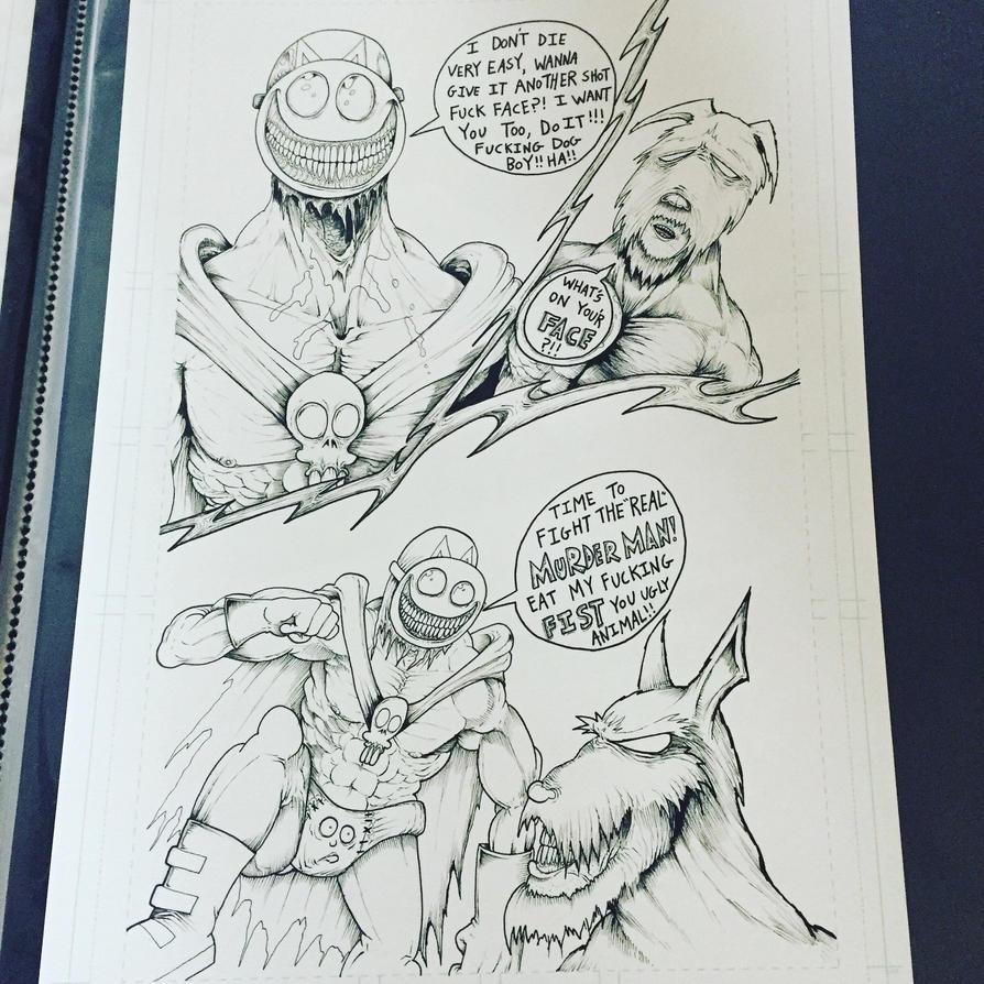 Murderman vs wolf man by Sethstygian
