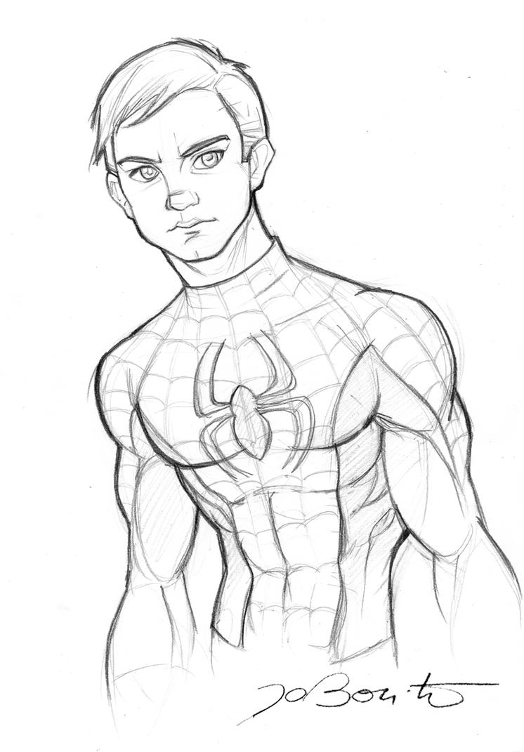 Drawing With No Lines : Spiderman peter parker by jobonito on deviantart