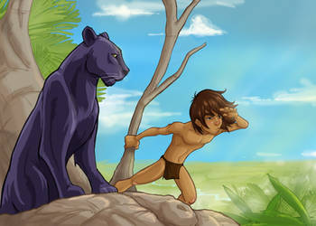 Mowgli and  Bagherah by JoBonito
