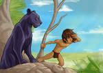 Mowgli and  Bagherah