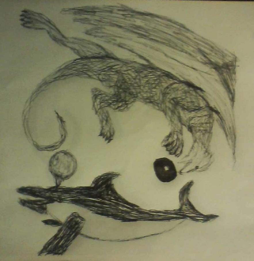 Dragon Dolphin Yin Yang by Eaglehawk4