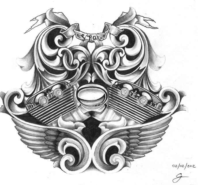 harley davidson vrod tattoo design by kings14 on deviantart. Black Bedroom Furniture Sets. Home Design Ideas