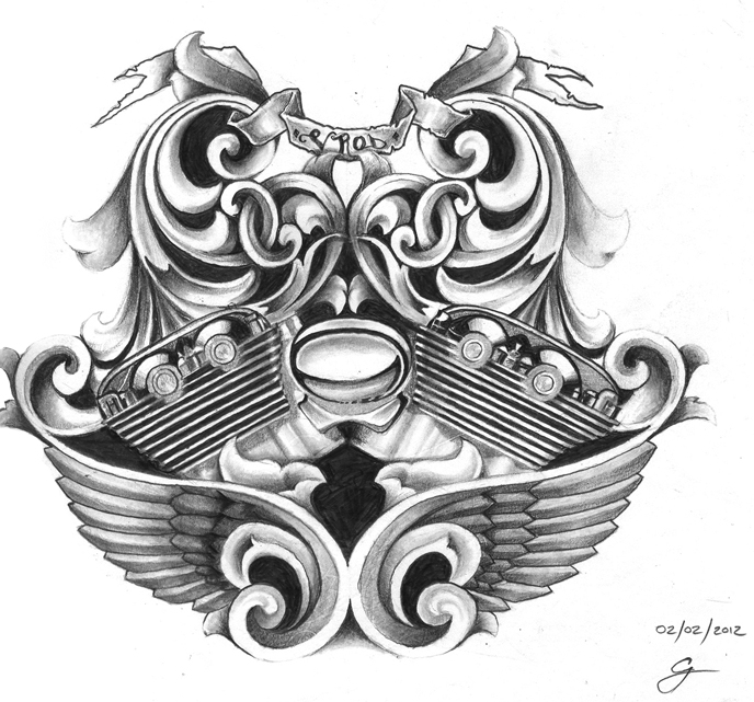 Harley davidson vrod tattoo design by kings14 on deviantart for Free harley davidson tattoo designs