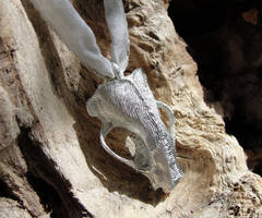 Pewter Badger Skull Pendant by Psydrache