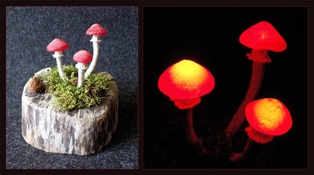 LED Mushroom Light 'Witchwood' by Psydrache