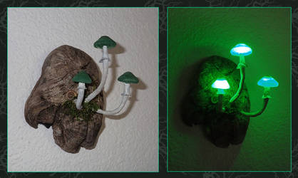 LED Mushroom Light 'Green Sisters' by Psydrache