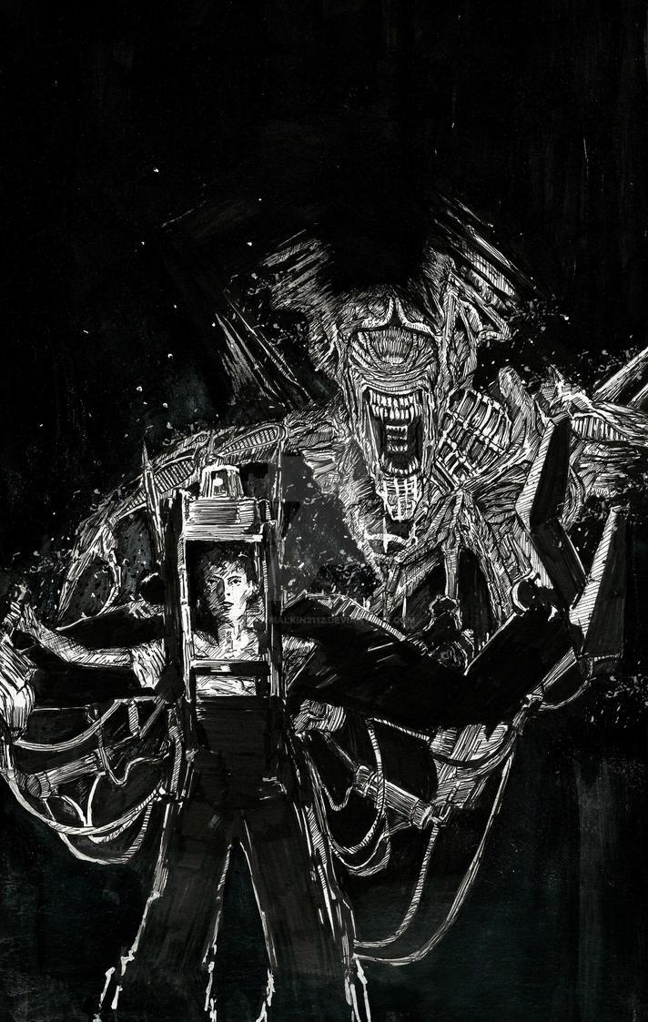 Ripley v.s. Alien Queen by Graymalkin2112