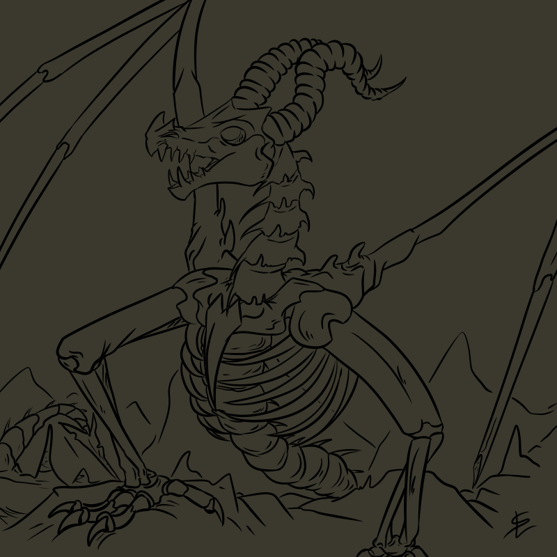 Skeleton dragon by giantdragon
