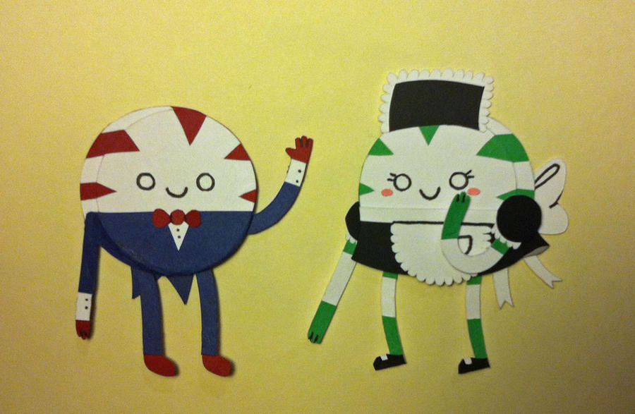 Peppermint Butler and Spearmint Maid Papercraft by jcsunshinee
