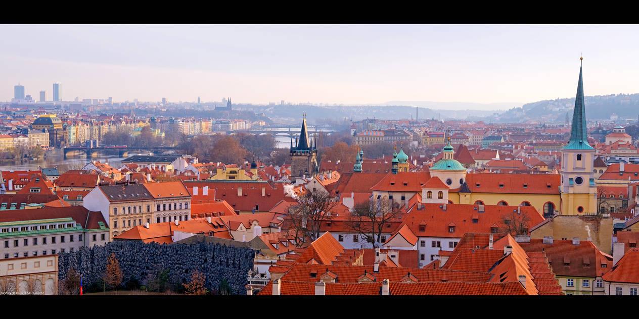 Red Roofs of Prague by KeldBach