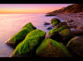 Mossy Rocks Sunset by KeldBach