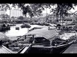 Singapore River in B/W by KeldBach