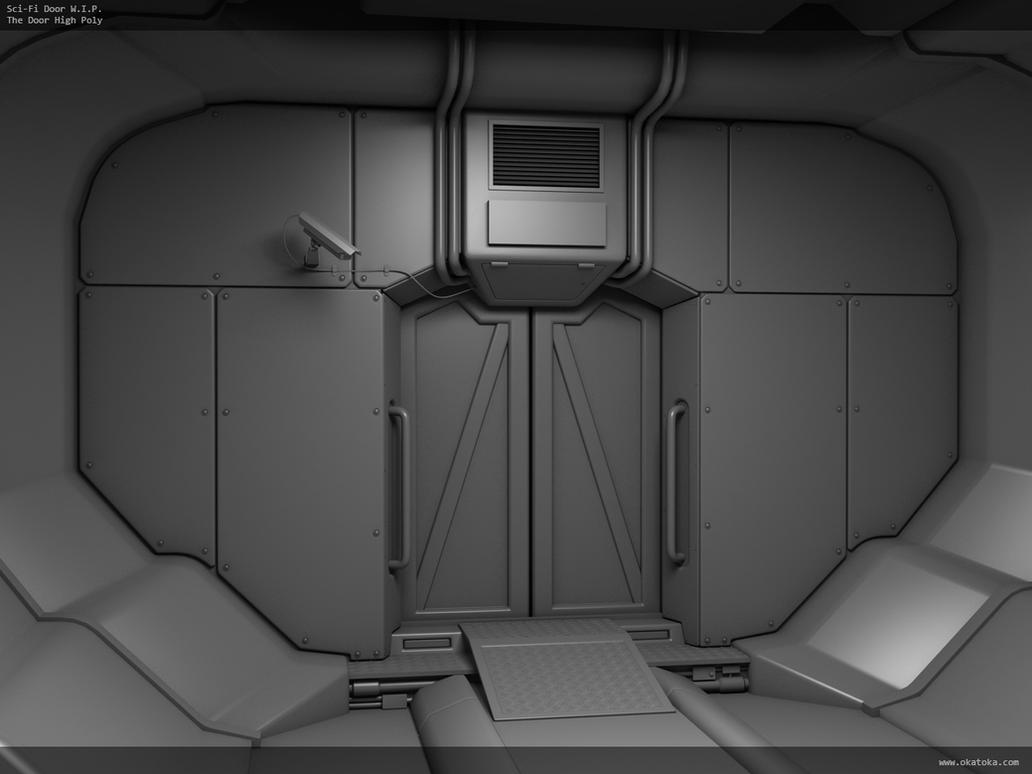 garage door ideas pictures - Sci Fi Interior W I P The Door High Poly by oka toka on
