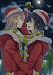 A kiss under the mistletoe!