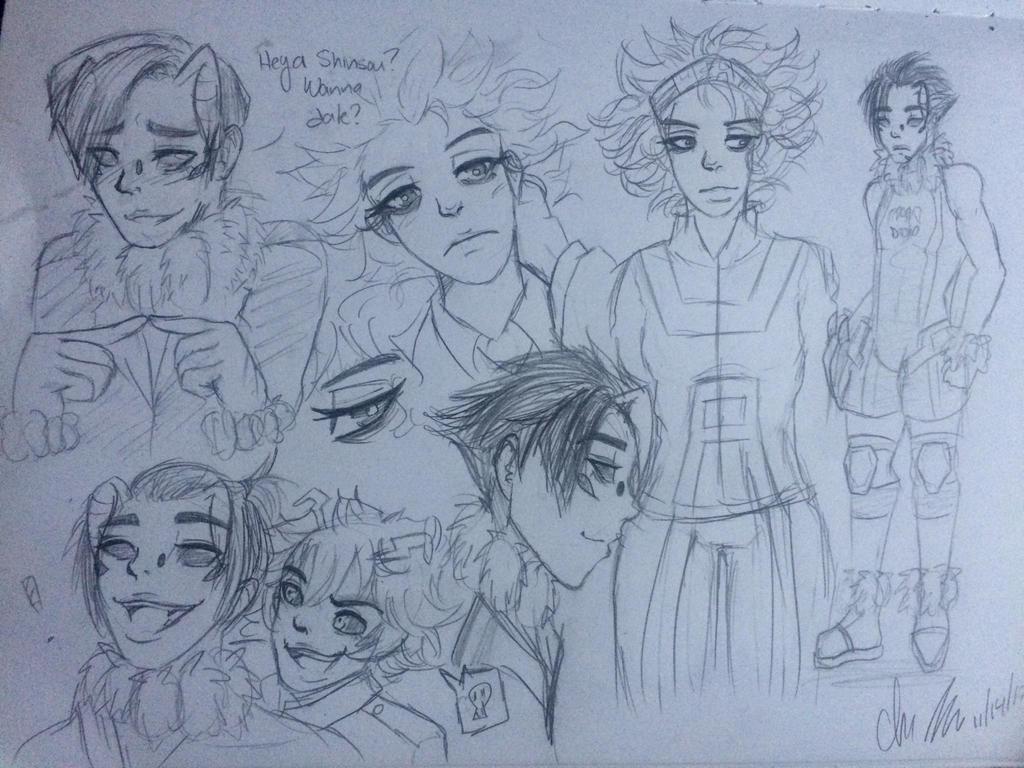 Genderbent Shinsaka Sketchdump by juke-boxx