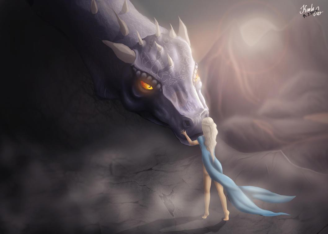Khaleesi and Drogon by pringlesaddict99