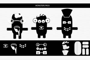 Black and White Monsters Characters Pack by psd-fan
