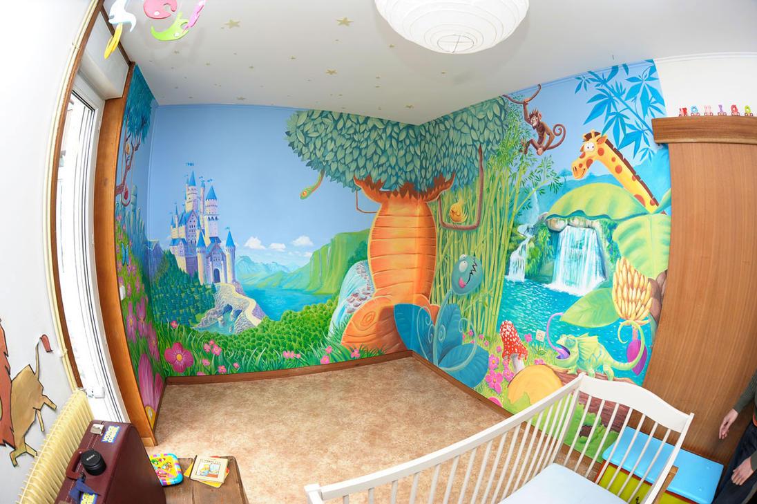 fresque chambre enfant by djoz on deviantart. Black Bedroom Furniture Sets. Home Design Ideas