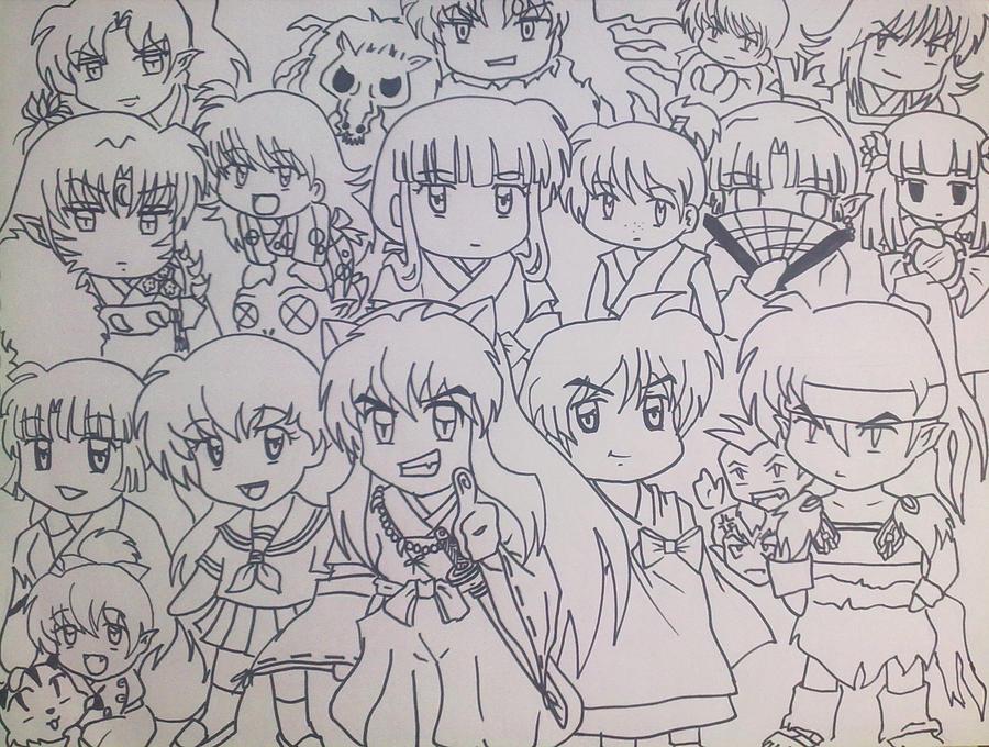 Inuyasha Chibi Line Art Collection By Spogunasya
