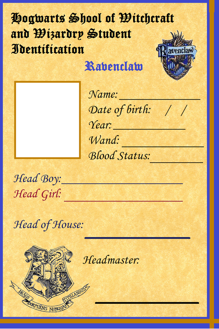 Hogwarts Student ID - Ravenclaw Front by Clayla on DeviantArt