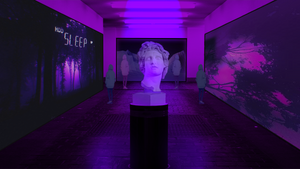 Museum in vaporwave style