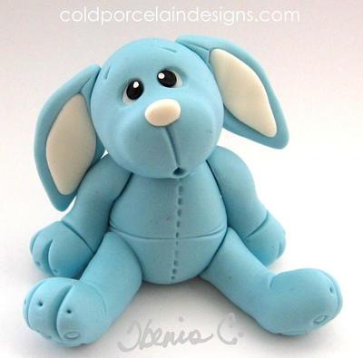 cold porcelain blue rabbit by i-be-c