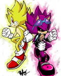 Super Sonic and Super Scourge by 4sonicfan