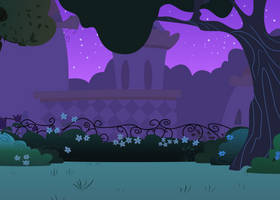 Background: Canterlot Gardens at Night by csillaghullo