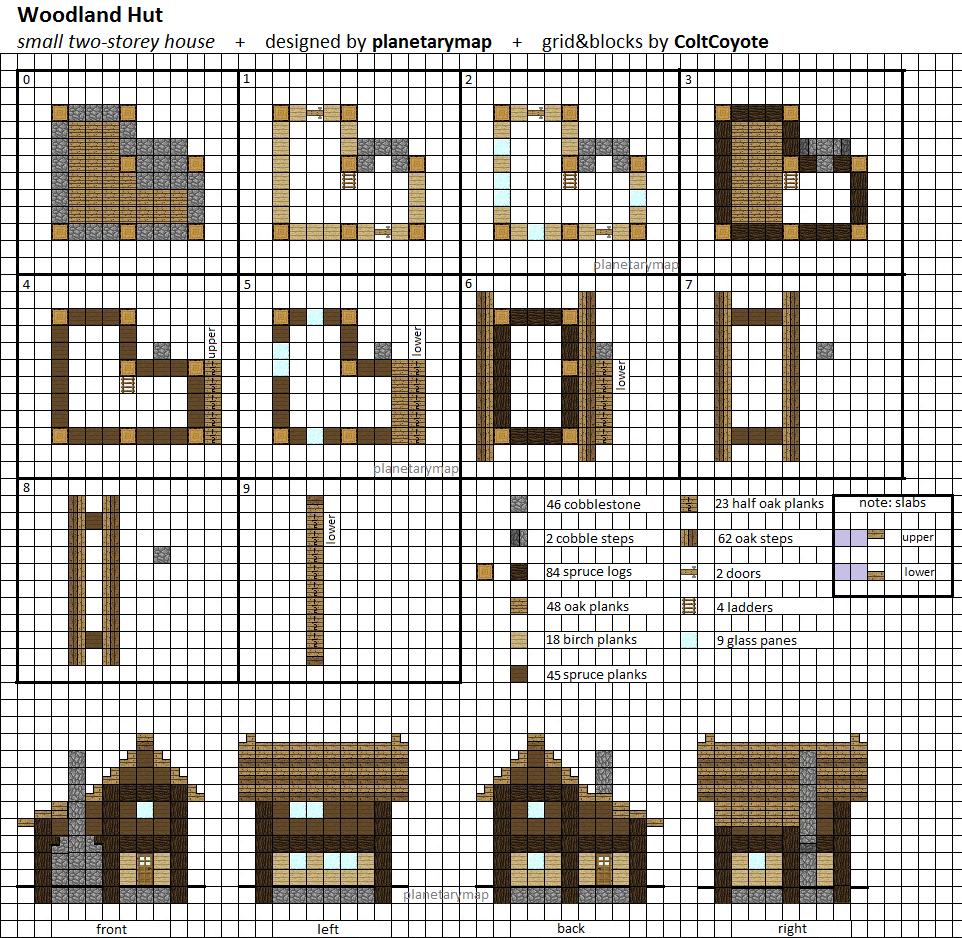 Woodland Hut Small Minecraft House Blueprint By Planetarymap On Deviantart