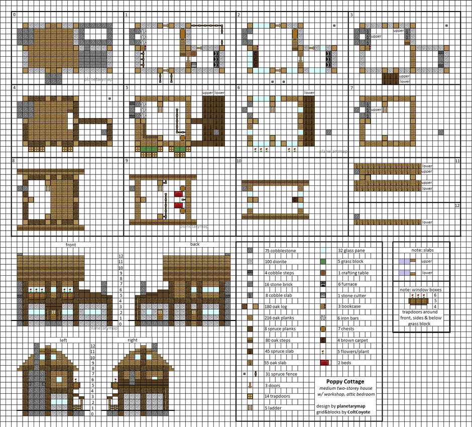 Poppy cottage medium minecraft house blueprints by Blueprints of houses to build