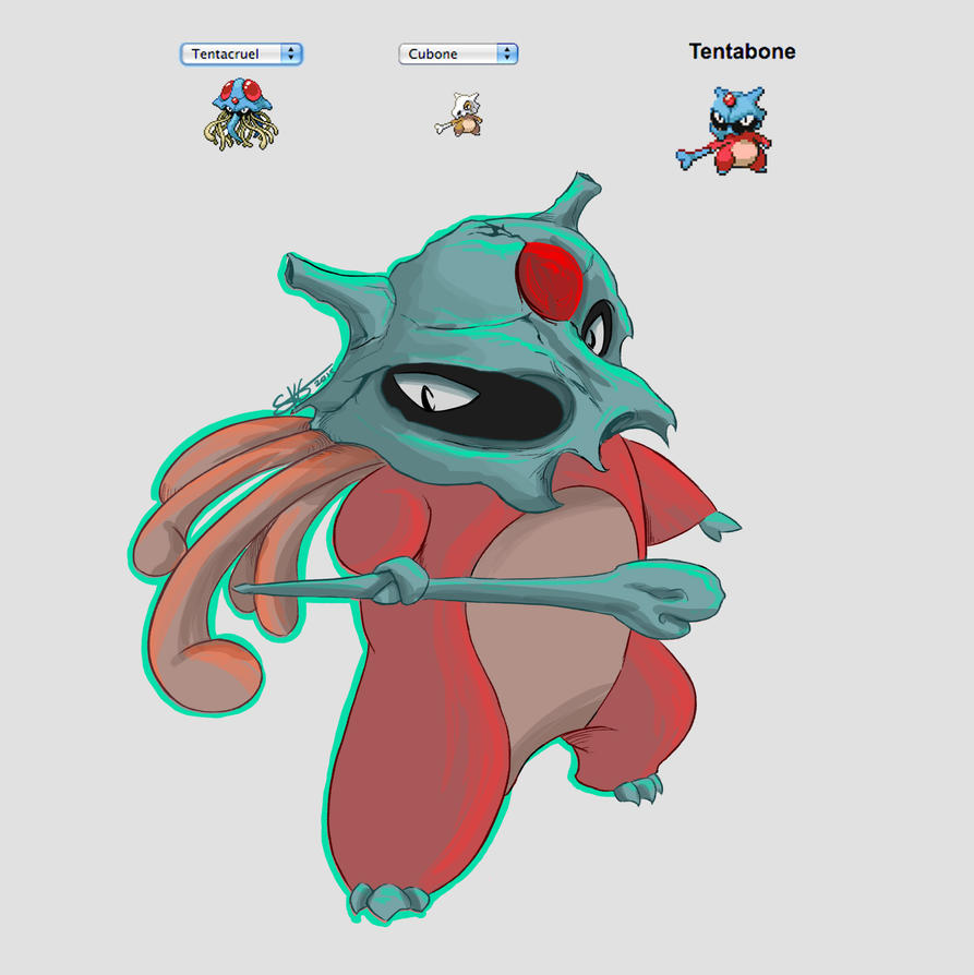 PokeFusion :: Tentabone by Space-Jacket