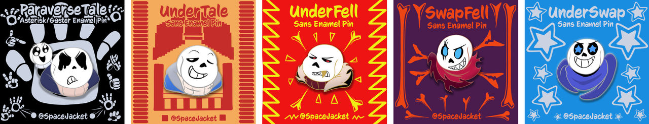 UnderTale AUs Enamel Pins with Backing Card