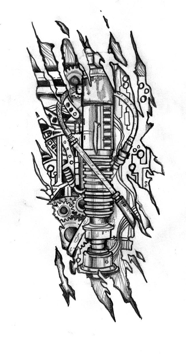 Biomechanical Tattoo Line Drawing : Biomechanic lightsaber tattoo design by customartwerk on