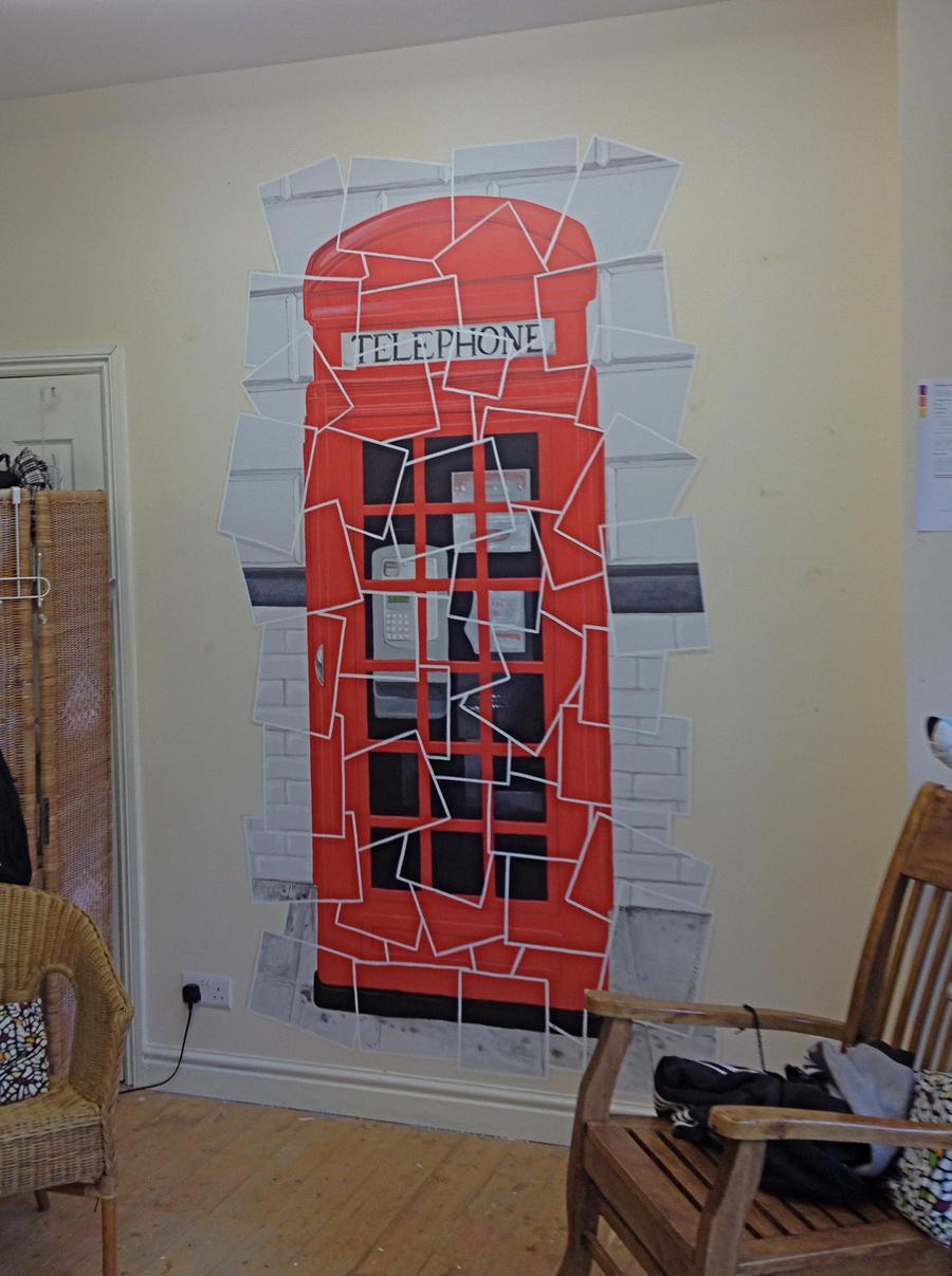 retro phone box mural by customartwerk on deviantart. Black Bedroom Furniture Sets. Home Design Ideas