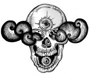 Steampkun Skull, smoke in the eyes