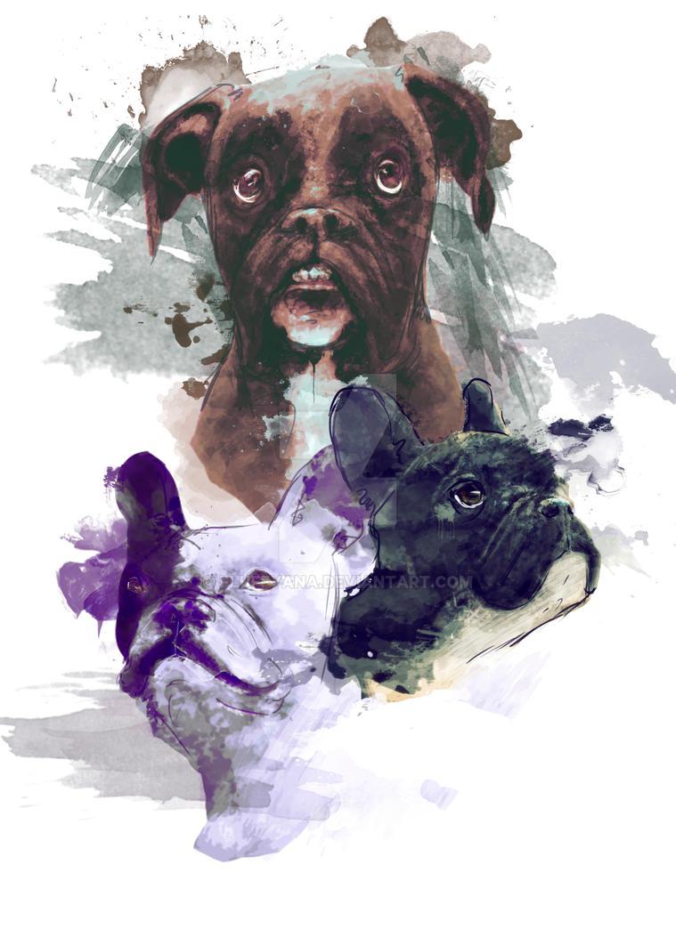 Bulldog lovers by Fluffyana