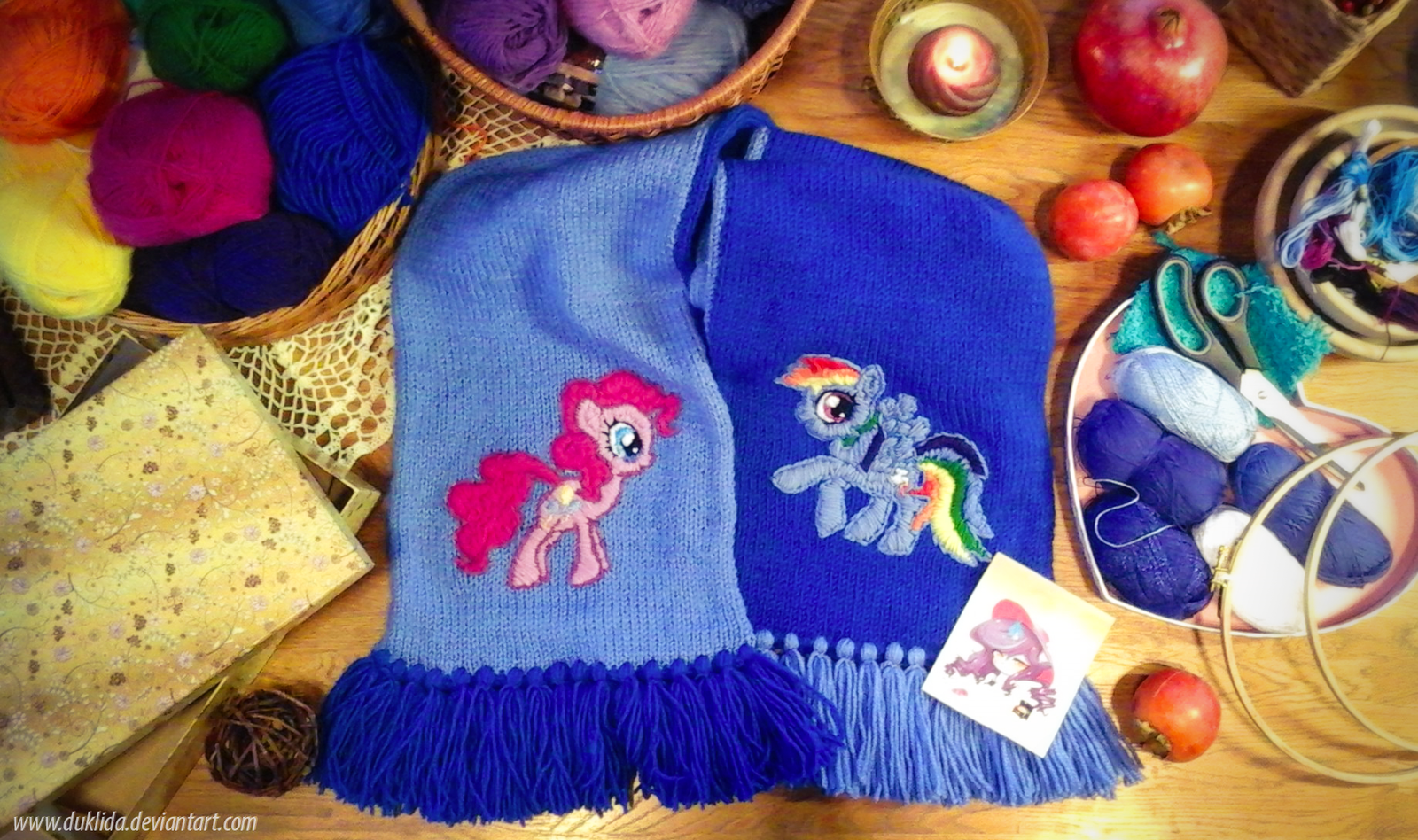 Pinkie Dash-Rainbow Pie scarf [AVAILABLE!] by Duklida